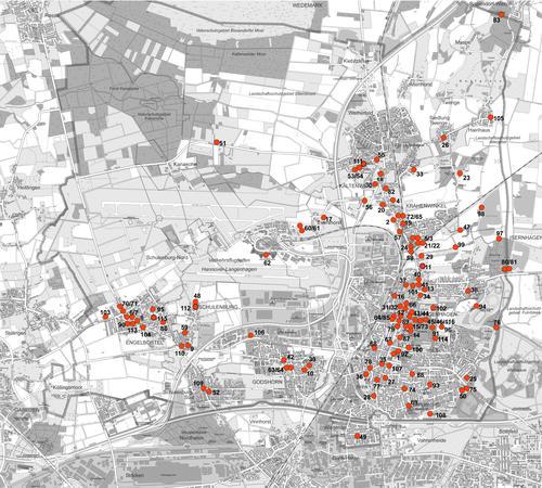 Übersichtskarte mit den Aufstellpunkten der GLIEM-Tafeln